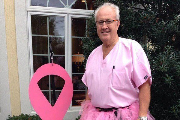 Doctor dressed in pink for breast cancer