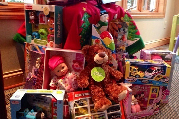 Gifts accumulated for toy drive