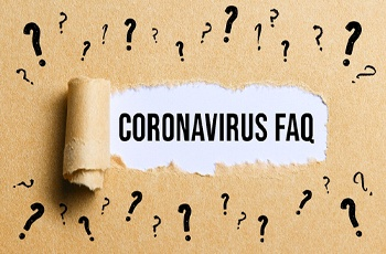 Coronavirus FAQ surrounded by question marks, COVID-19 FAQs in Columbia